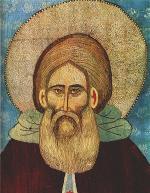 Прп. Сергий Радонежский. Шитая икона (фрагмент). XVв.
