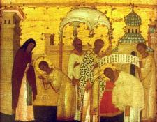 Поствление Сергия в дьяконы и в игумены. Клеймо иконы Преподобный Сергий Радонежский с клеймами жития, 16 в.
