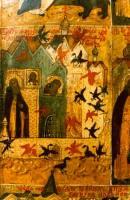 Видение птиц на молитве преп. Сергию. Клеймо иконы Преп. Сергий Радонежский в житии, 17 в. Фото А. Царева