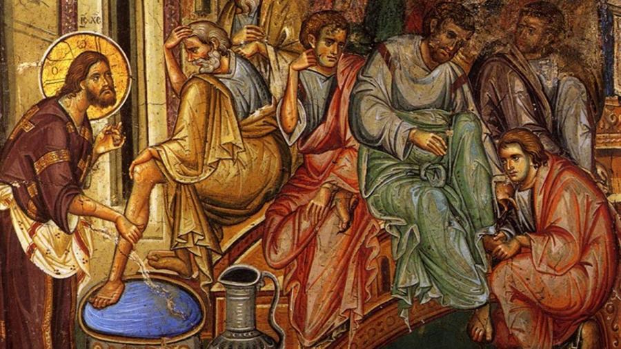 Иисус Христос омывает ноги своим ученикам