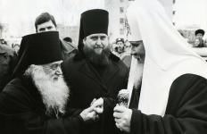 Патриарх Алексий II, епископ Александр и епископ Михей. Ярославль, 1993 г.