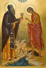 Старец Зосима причащает прп Марию Египетскую