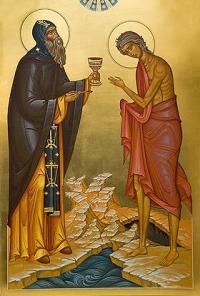 Старец Зосима причащает прп. Марию Египетскую