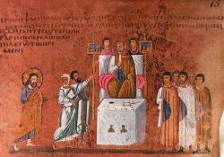 Великая Пятница. Христос перед Пилатом. VI в. Миниатюра Евангелия из Россано. Музей в Россано, Италия