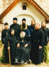 Владыка Михей, отец Феодор, мать Феврония, игумен Иоанн (Титов) и братия ростовского Борисо-Глебского монастыря